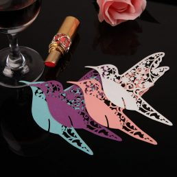 Papierowe ptaszki do dekorowania kieliszkow z winem - 3