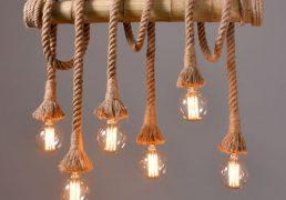 Lampa sufitowa z bambusa i liny - 1