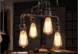 Lampa sufitowa ze stalowych rur, industrialna - 1