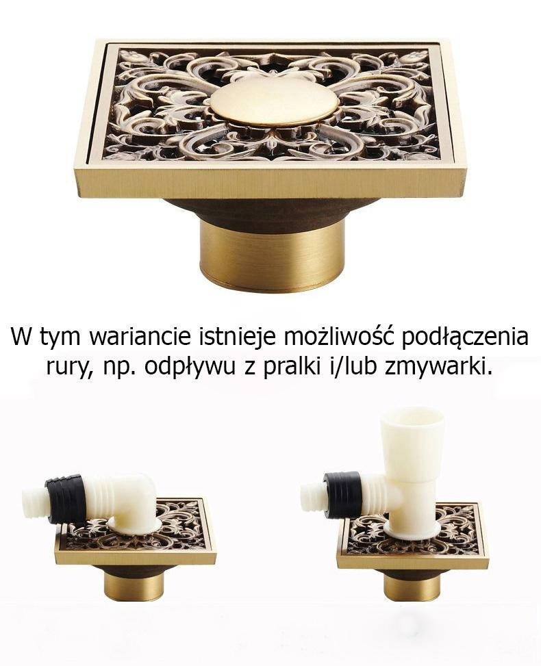 Ozdobny odplyw (kratka sciekowa), 10x10cm, suchy syfon - dodatkowy spust