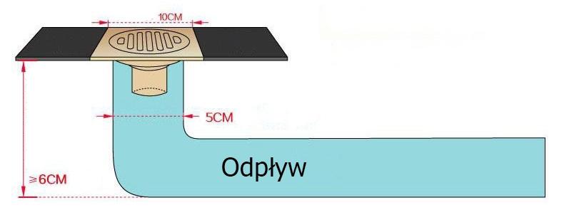 Ozdobny odplyw (kratka sciekowa), 10x10cm, suchy syfon - odplyw