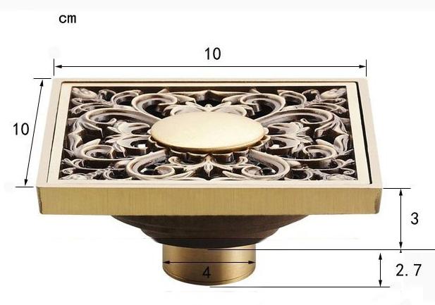 Ozdobny odplyw (kratka sciekowa), 10x10cm, suchy syfon - wymiary
