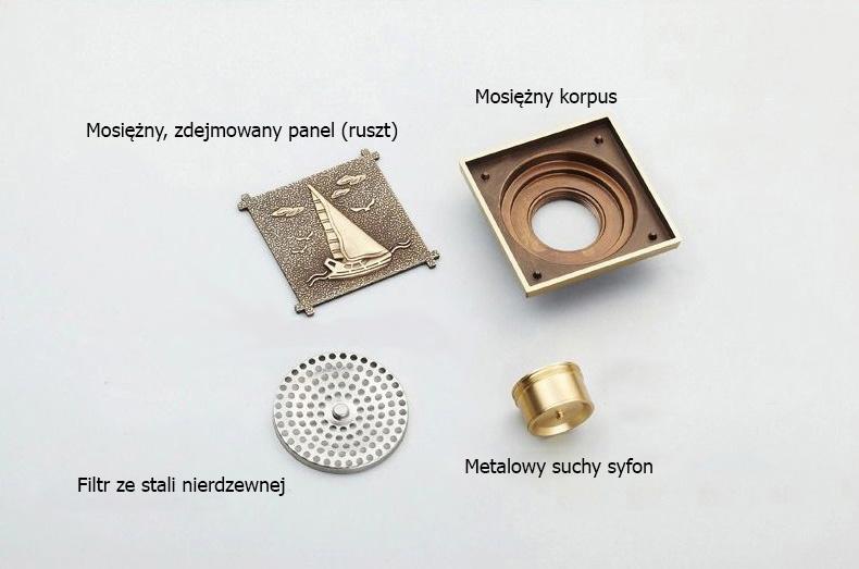 Ozdobny odplyw (kratka sciekowa), 10x10cm, suchy syfon - zestaw