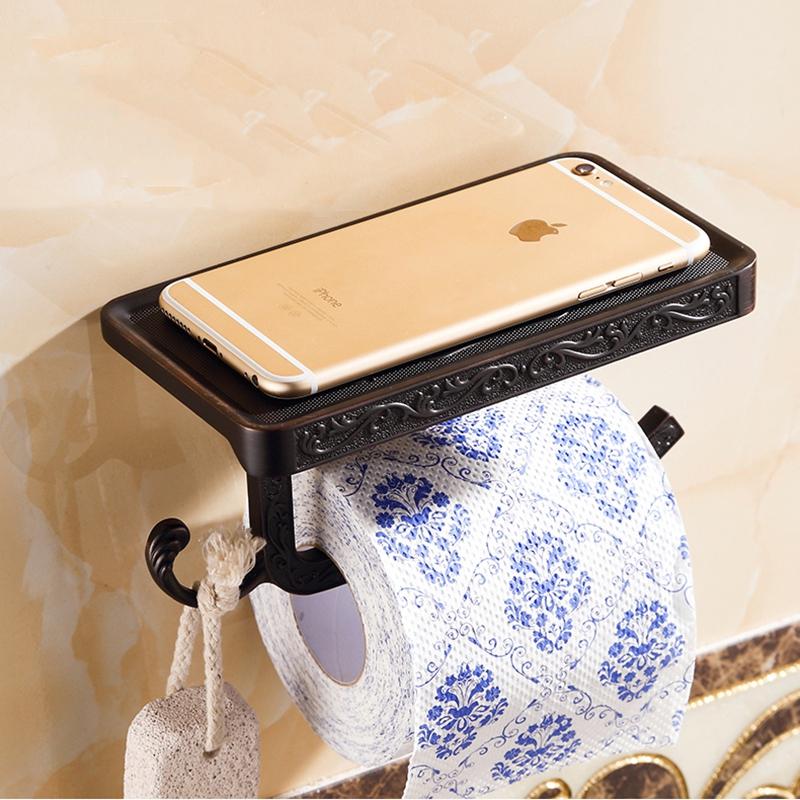 Antyczny uchwyt na papier toaletowy z polka i wieszakiem - 5