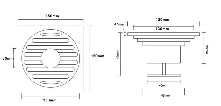 Ozdobny Odpływ Kratka ściekowa 15x15cm 2 Rodzaje Syfonów