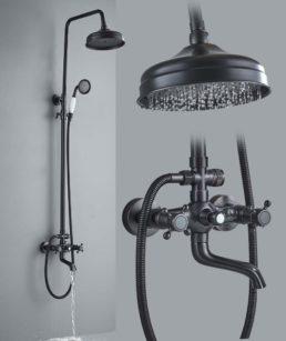 Bateria prysznicowa - Czarna Deszczownia z Białą Słuchawką - główne